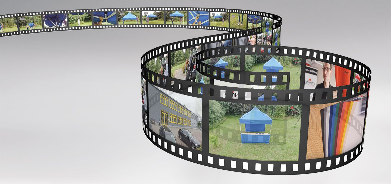Filmrolle mit den einzelnen Schritten aus dem Kurzfilm von atento.