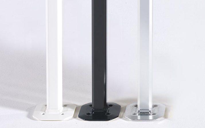 Die drei Strukturfarben, weiß, schwarz und Aluminium, für atento Faltpavillons im Detail