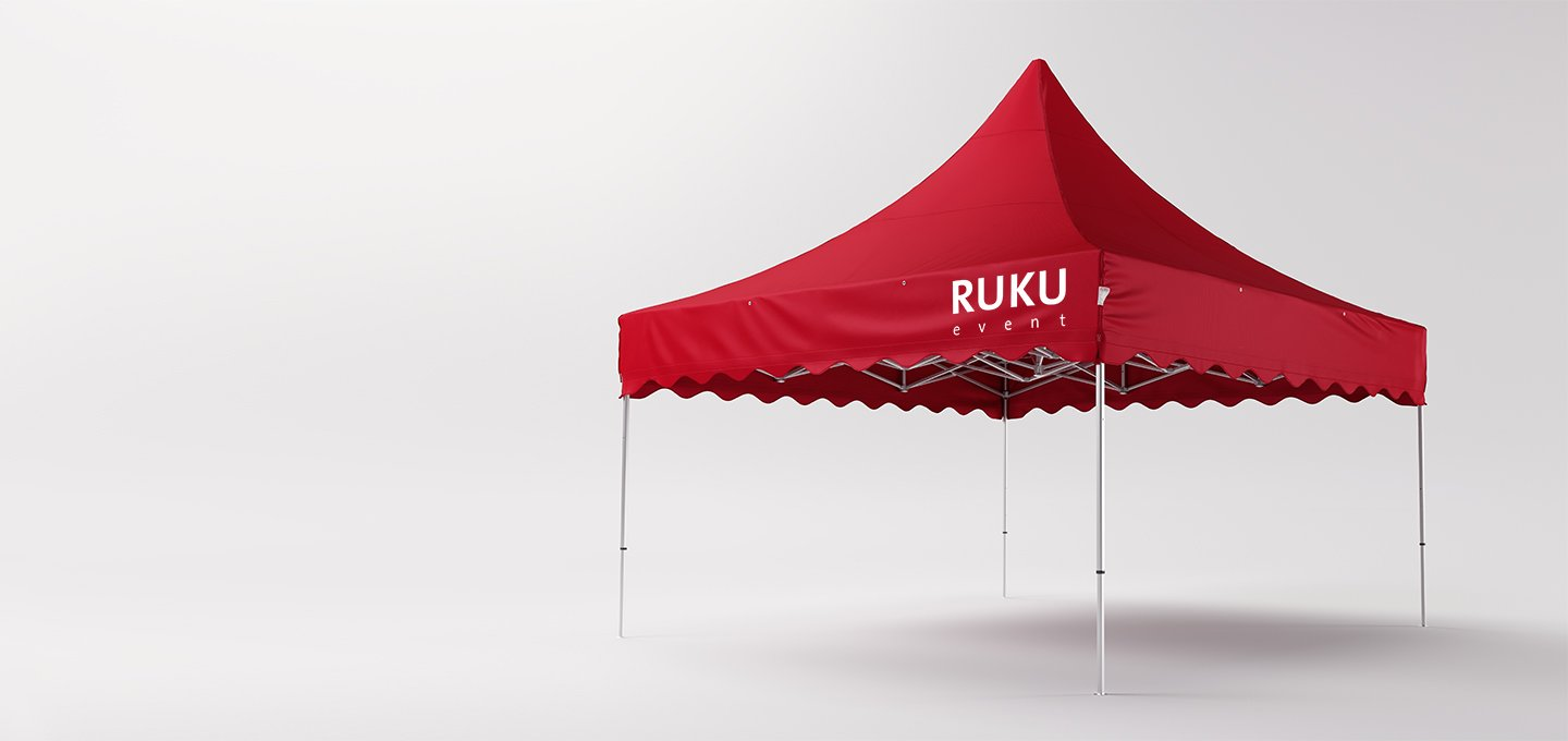 Red canopy tent 5x5 m from RUKU.