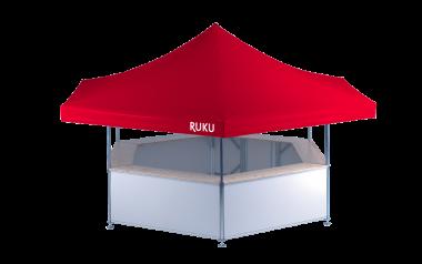 Weißer 6-Eck Bierstand von RUKU. Ideal als Bierstand, Bierpavillon und Getränkestand.