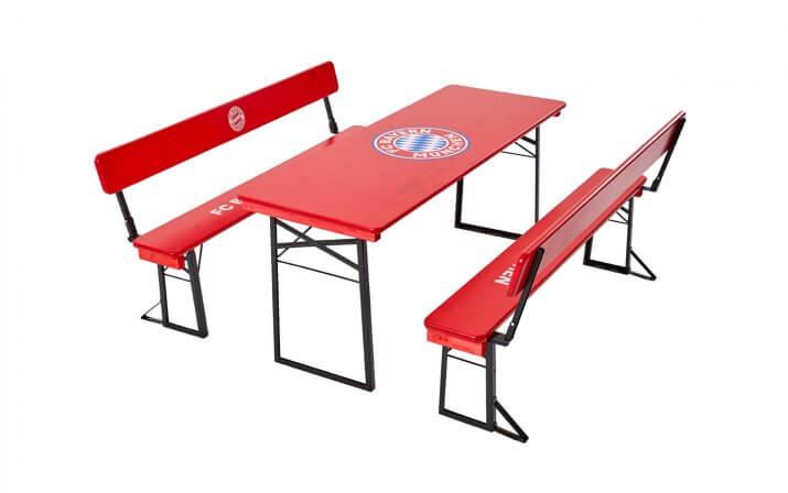 Die Bierzeltgarnitur mit Lehne im FC Bayern München Design.