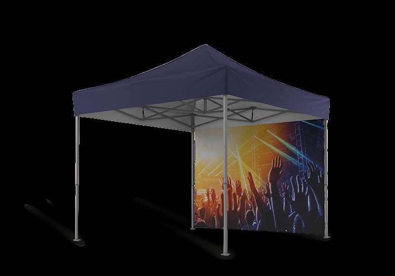 Blaues Eventzelt 3x3 m mit geschlossener Seitenwand. Die geschlossene Seitenwand ist mit Personen bei einem Musikevent bedruckt.