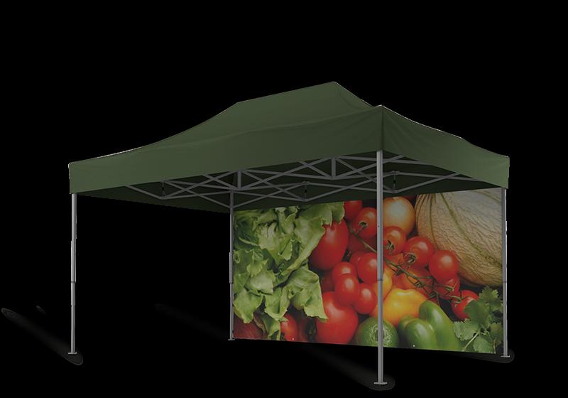 Grünes Markezlt 4,5x3 m mit geschlossener Seitenwand, welche mit buntem Gemüse bedruckt ist.