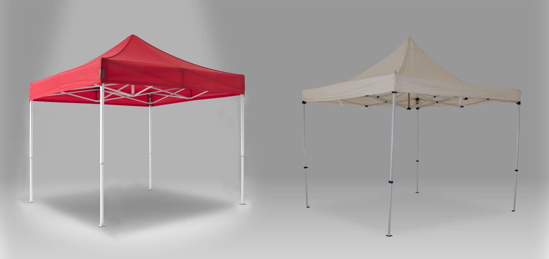 Vergleich eines RUKUevent Faltpavillons mit einem herkömmlichen Faltpavillon der Konkurrenz.