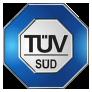 Das blaue TÜV Süd Siegel.