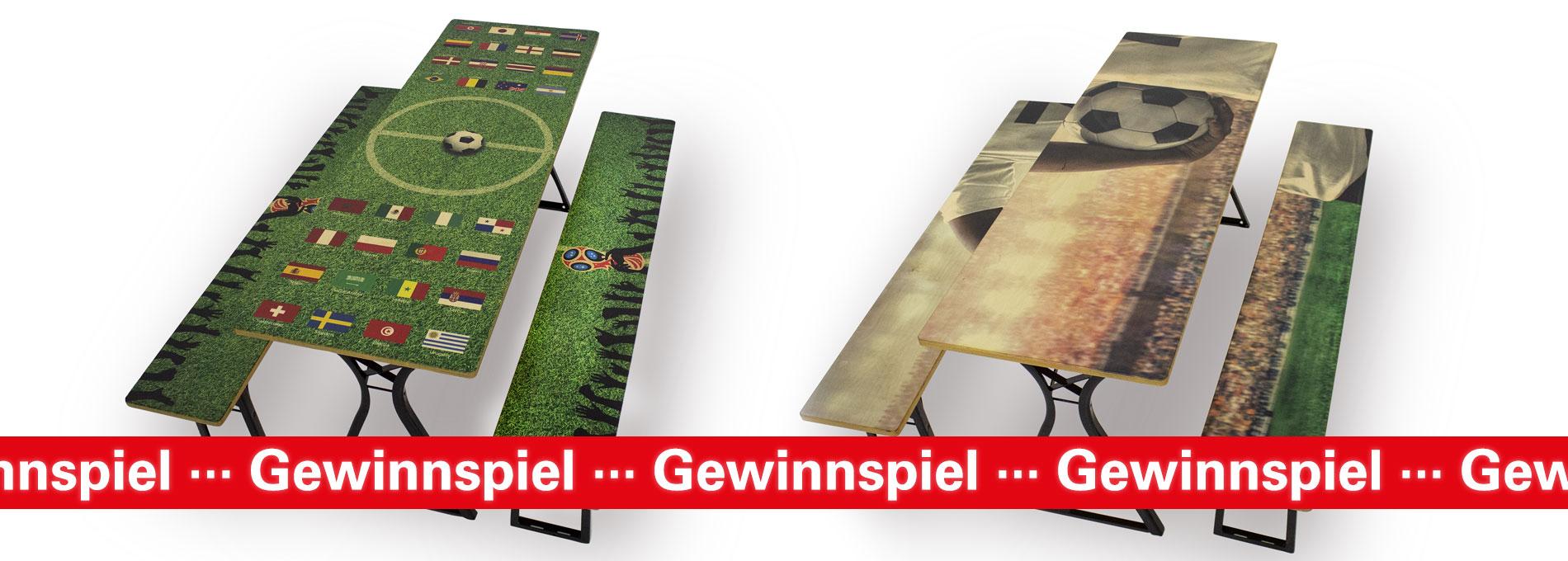 Zwei Garnituren im Fußball-Style, die im Rahmen des WM-Gewinnspiels von RUKUevent verlost werden