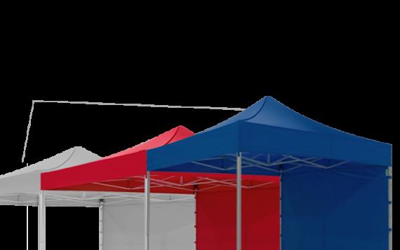 Drei Faltpavillons, in den Farben blau, rot und grau, sind miteinander verbunden, sodass sie eine Zeltstadt bilden.