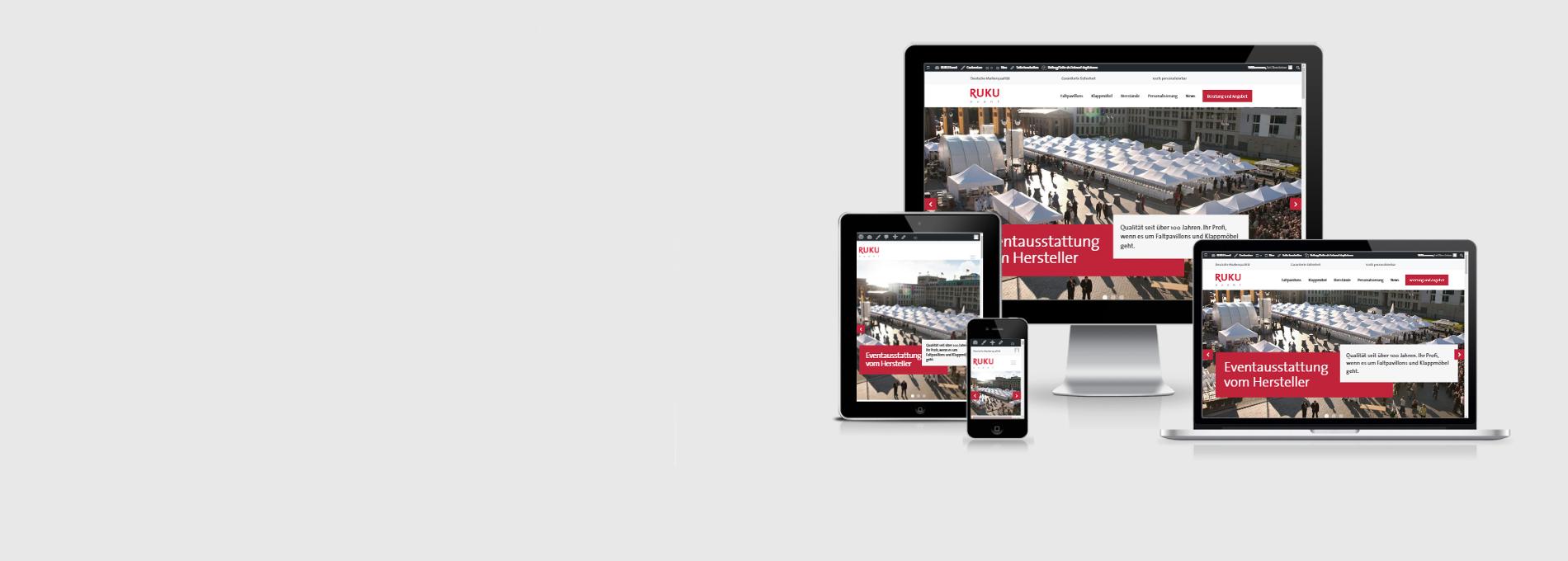 Darstellung der RUKUevent Webseite auf verschiedenen mobilen Endgeräten