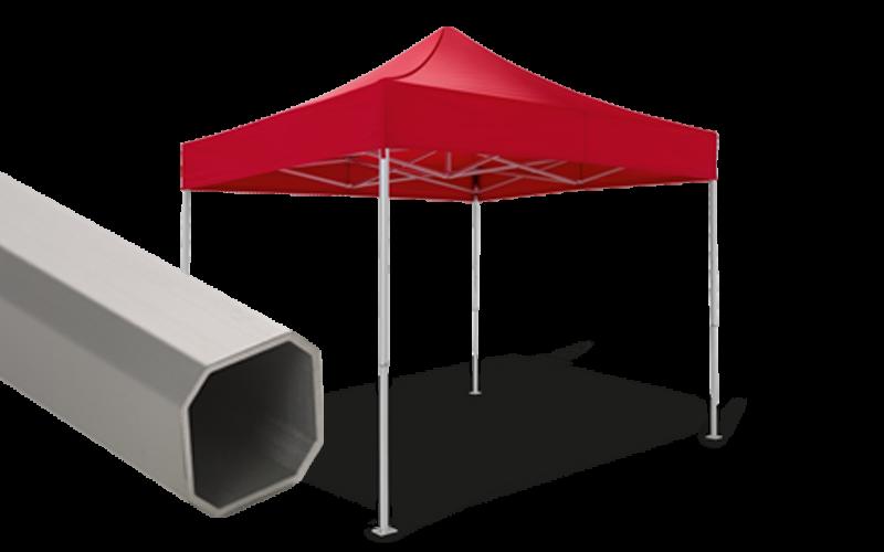 Roter Faltpavillon mit Detailansicht der Struktur - Ausführung atento 43.