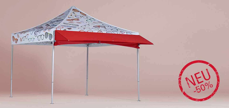 Faltpavillon-Aktion 'Mobiles Vordach' mit dem Stempel -50%.