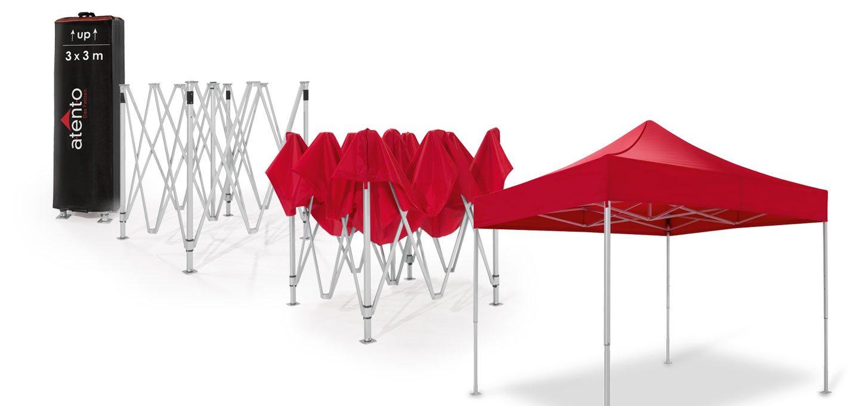 Schritt-für-Schritt Aufbauanleitung zum Aufstellen eines Faltpavillons.