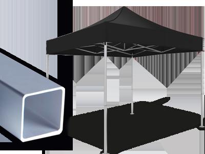 Schwarzer Faltpavillon mit Detailansicht der Struktur - Ausführung atento 30.