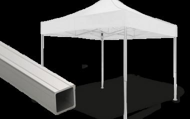 Weißer Faltpavillon mit Detailansicht der Struktur - Ausführung atento basic.