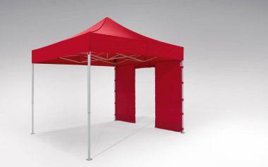 Rote Seitenwand mit Rolltür an einem roten atento Faltpavillon von RUKU der Größe 3x3 m.