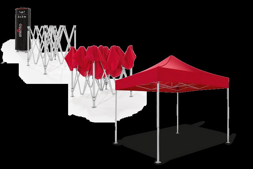 Schritt für Schritt Anleitung zum Aufbau eines Faltpavillons. Die Darstellung zeigt, wie man einen atento Faltpavillon von RUKU in zwei Minuten ganz ohne Werkzeug aufbaut. Von der Verpackung bis zum fertigen Faltpavillon.