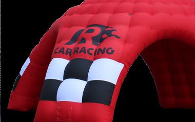 Aufblasbare Werbeträger & Inflatables in rot mit personalisierter Bedruckung.