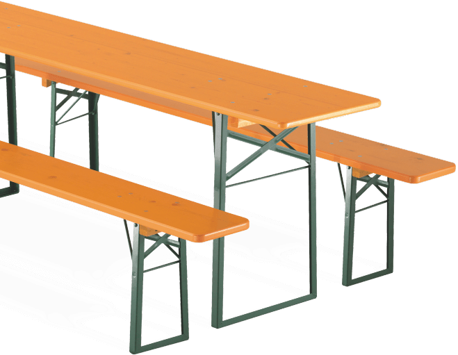 Folding table and benches in detail.