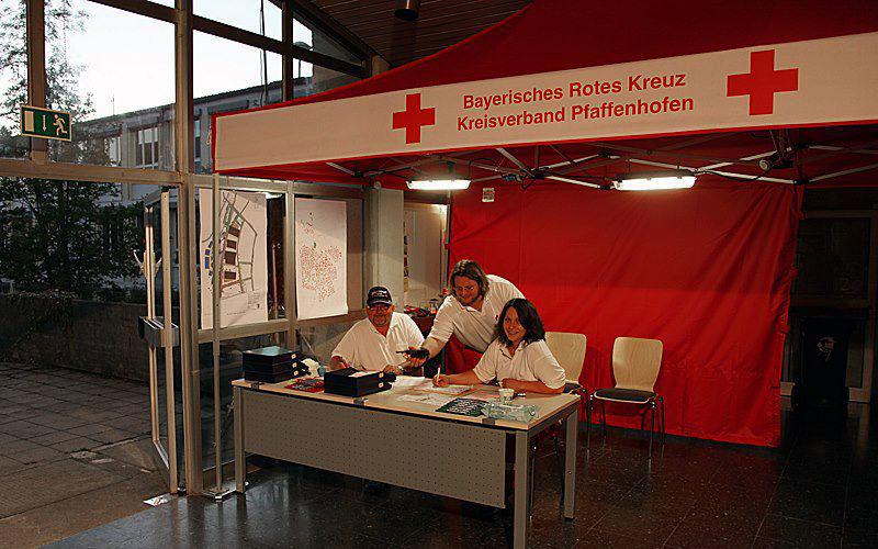 Der Faltpavillons beim Barthelmarkt als Anlaufstelle für Informationen.