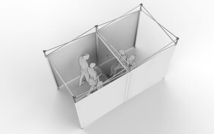 Ein 3D-Rendering des mobilen RUKUevent Besucherraums.