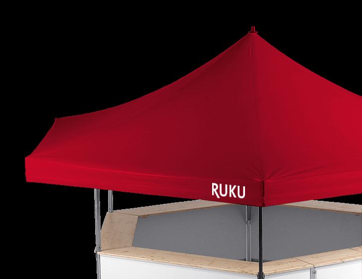 Roter 6-Eck Bierstand von RUKU aus der Sicht von oben.