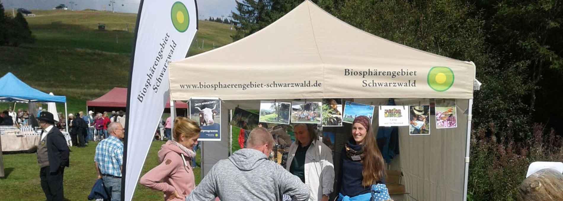 Beiges Faltzelt für das Biosphärengebiet Schwarzwald auf einer Infoveranstaltung im Freien.