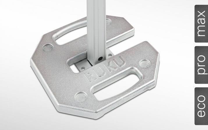 Gewichte & Bodenplatten zur Befestigung von Faltpavillons am Boden.