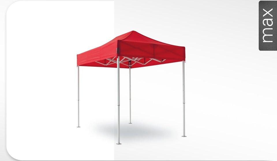 Roter Alu-Faltpavillon der Größe 4x4 m mit rotem Dach. Das Label am rechten Rand zeigt, dass der Faltpavillon in der Linie max erhältlich ist.