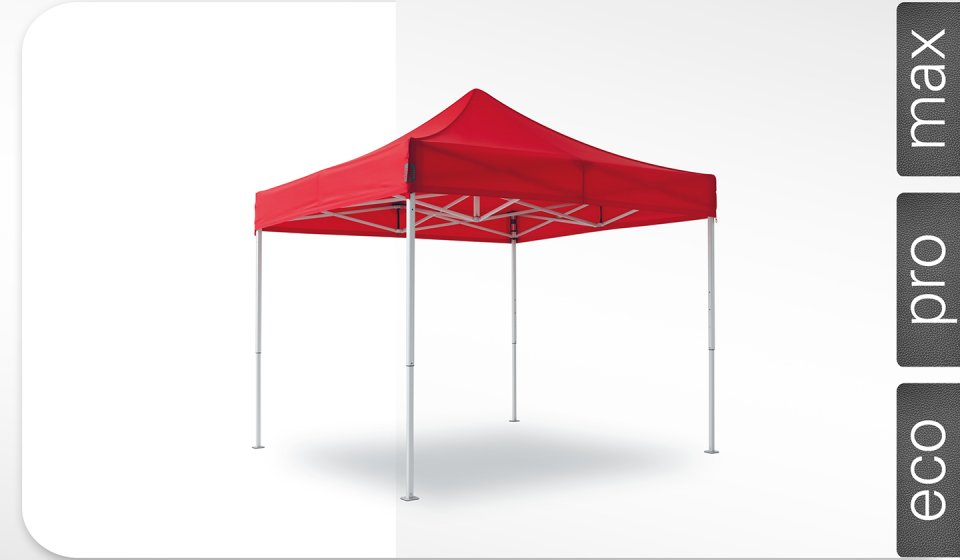 Red aluminum canopy tent size 3x3 m with red roof. The labels on the right edge show that the canopy tent is available in max, pro and eco models.