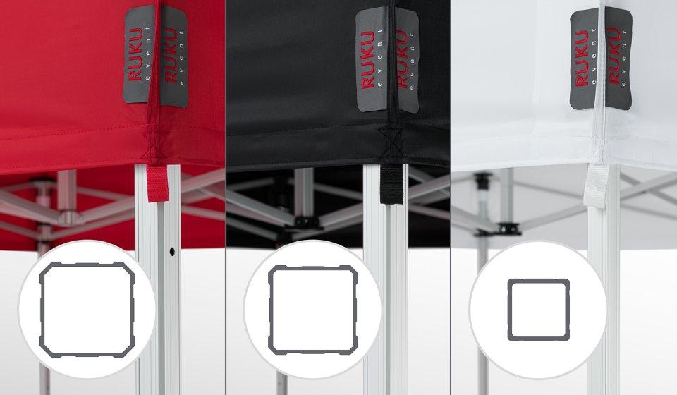 Gegenüberstellung der 3 Faltpavillon-Linien mit Querschnitt des jeweiligen Profils: roter Faltpavillon der Linie max, schwarzer Faltpavillon der Linie pro und weißer Faltpavillon der Linie eco.