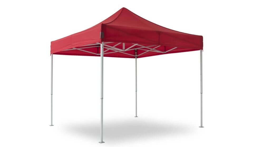 canopy tent of the max line with red tent roof and aluminium frame.