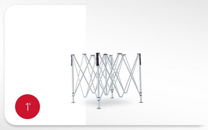 Halboffener roter Faltpavillon mit Minutenangabe des Aufbaus: Zeltgestell entfalten, Dach auflegen und fixieren nimmt 1 Minute und 30 Sekunden in Anspruch.