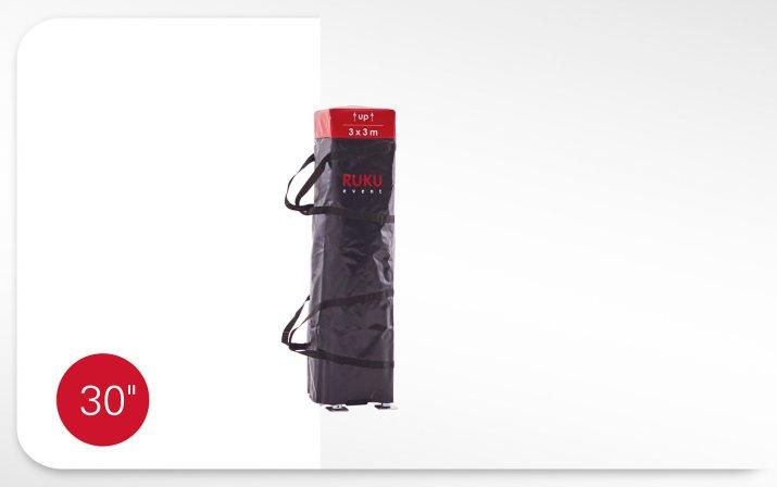 Faltpavillon in Transporttasche mit Minutenangabe des Aufbaus: Das Abnehmen der Transporttasche nimmt 30 Sekunden in Anspruch.