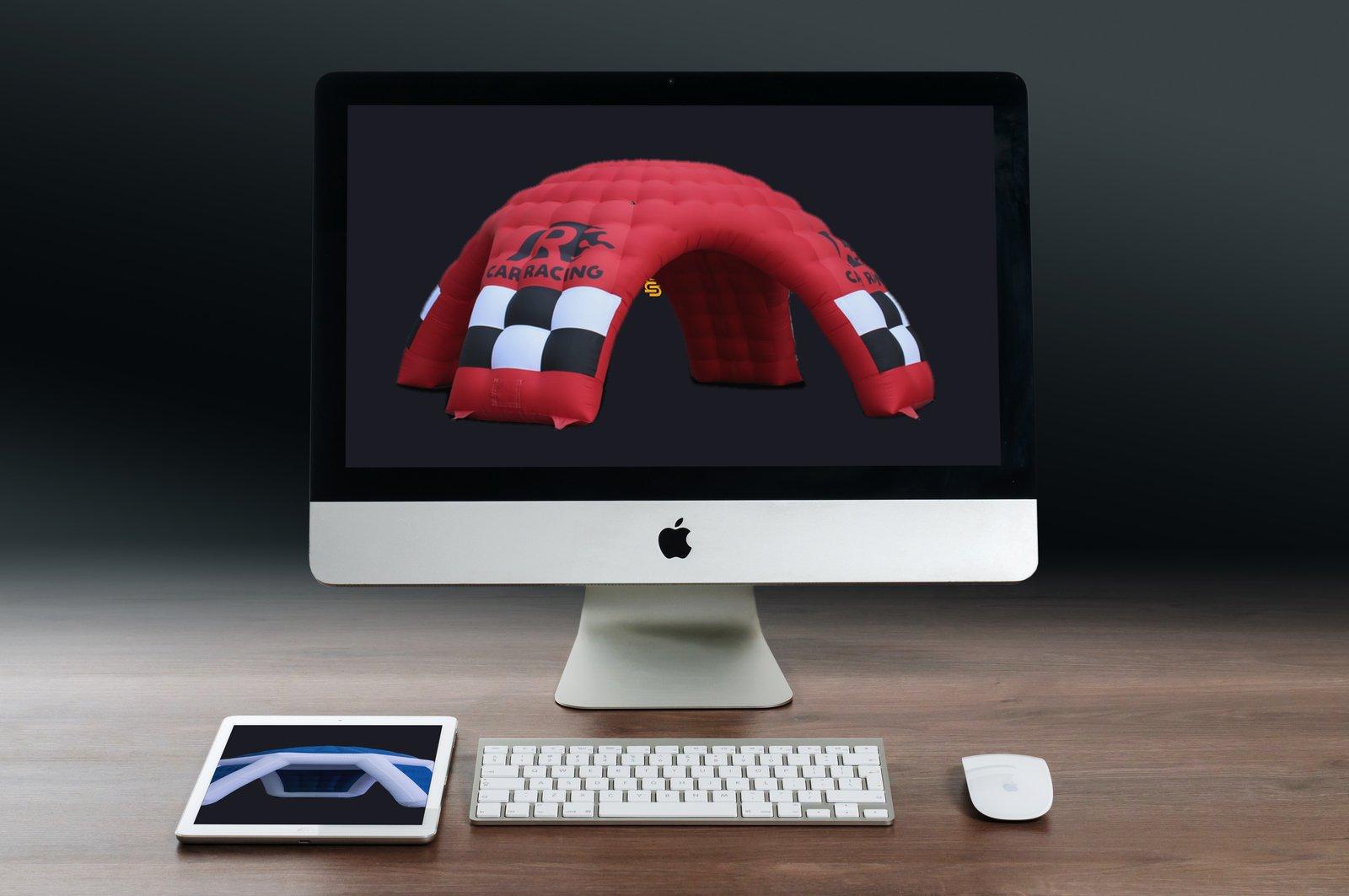 MAC mit aufblasbaren Werbeträger während dem Design-Prozess.
