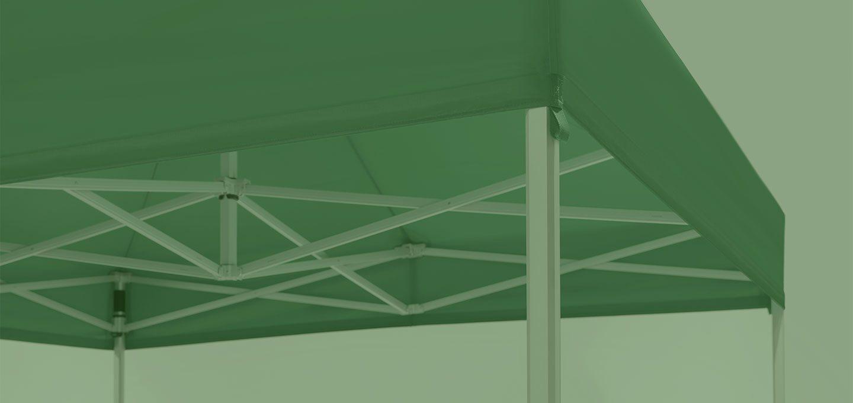 Grüner Faltpavillon auf grünem Hintergrund.