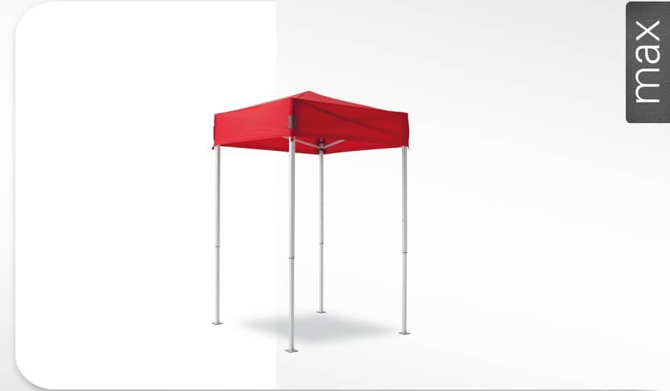 Roter Alu-Faltpavillon der Größe 1,5x1,5 m mit rotem Dach. Das Label am rechten Rand zeigt, dass der Faltpavillon in der Linie max erhältlich ist.