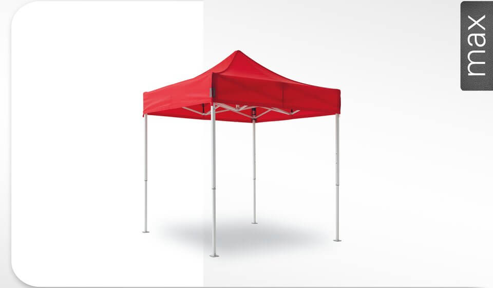 Roter Alu-Faltpavillon der Größe 2,3x2,3 m mit rotem Dach. Das Label am rechten Rand zeigt, dass der Faltpavillon in der Linie max erhältlich ist.
