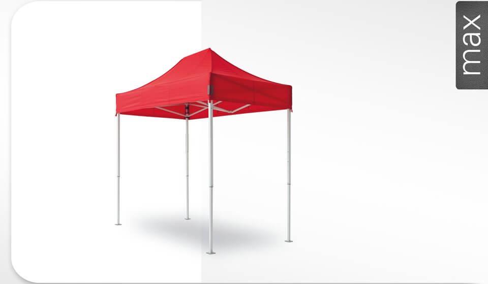 Roter Alu-Faltpavillon der Größe 3x1,5 m mit rotem Dach. Das Label am rechten Rand zeigt, dass der Faltpavillon in der Linie max erhältlich ist.