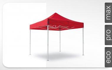 Roter Alu-Faltpavillon der Größe 3x3 m mit rotem Dach. Die Labels am rechten Rand zeigen, dass der Faltpavillon in den Linien max, pro und eco erhältlich ist.