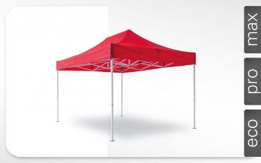 Roter Alu-Faltpavillon der Größe 4,5x3 m mit rotem Dach. Die Labels am rechten Rand zeigen, dass der Faltpavillon in den Linien max, pro und eco erhältlich ist.