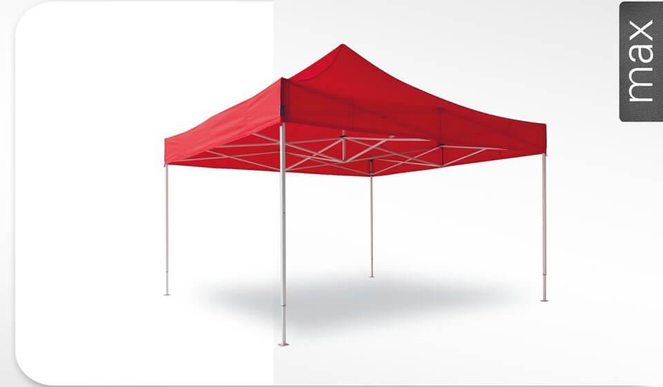 Roter Alu-Faltpavillon der Größe 5x5 m mit rotem Dach. Das Label am rechten Rand zeigt, dass der Faltpavillon in der Linie max erhältlich ist.