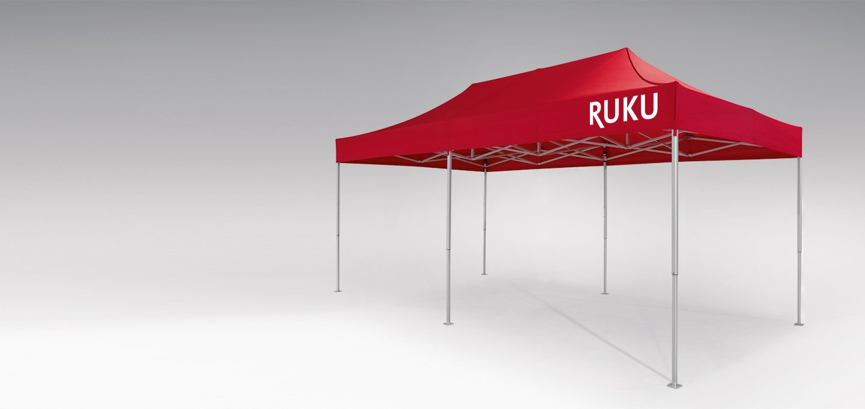 Roter atento Faltpavillon 6x3 m von RUKU.