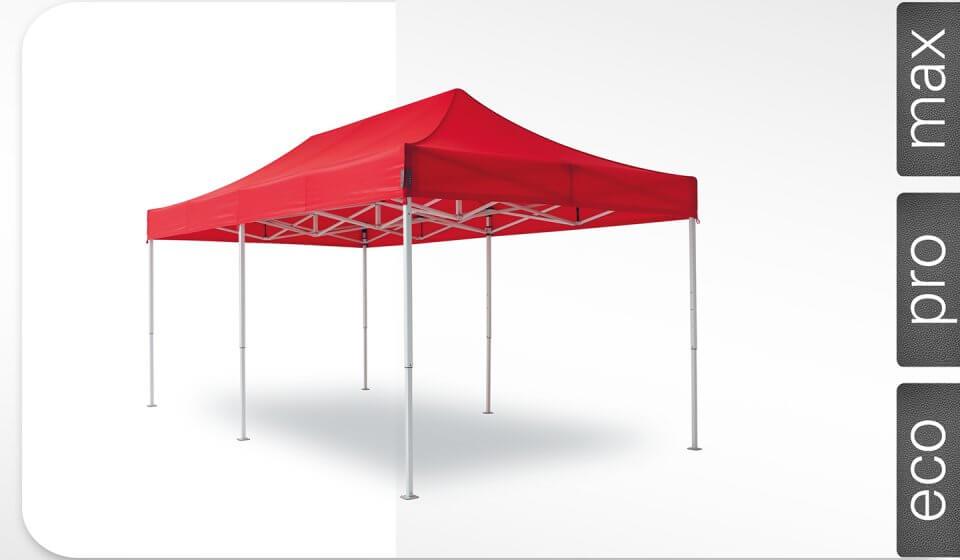 Roter Alu-Faltpavillon der Größe 6x3 m mit rotem Dach. Die Labels am rechten Rand zeigen, dass der Faltpavillon in den Linien max, pro und eco erhältlich ist.