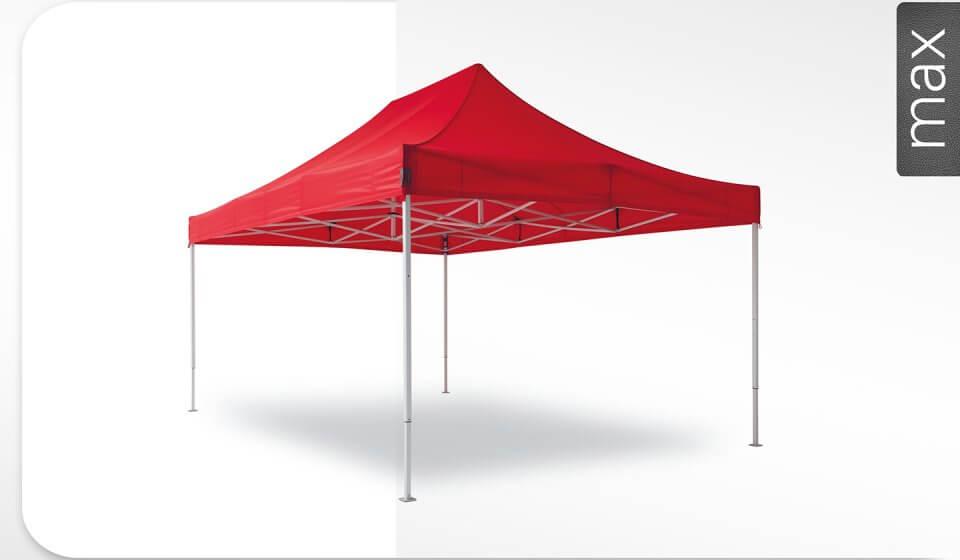 Roter Alu-Faltpavillon der Größe 6x4 m mit rotem Dach. Das Label am rechten Rand zeigt, dass der Faltpavillon in der Linie max erhältlich ist.