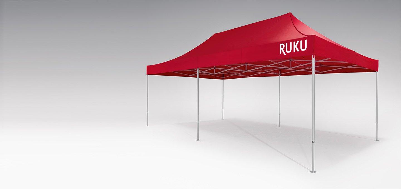 Roter atento Faltpavillon 8x4 m von RUKU.