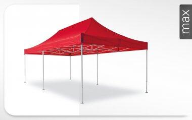 Roter Alu-Faltpavillon der Größe 8x4 m mit rotem Dach. Das Label am rechten Rand zeigt, dass der Faltpavillon in der Linie max erhältlich ist.