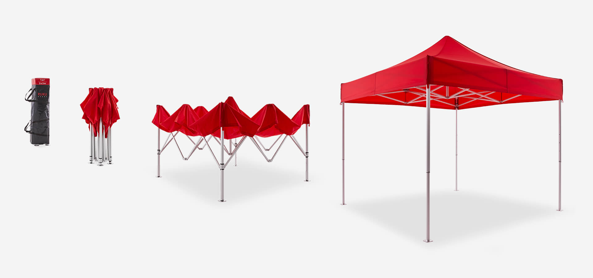 Set-up of the RUKUevent canopy tent in 4 steps: Canopy tent in the transport bag, folded structure, half-opened structure, finished canopy tent.