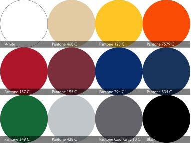 Die 12 Standardfarben mit allen Pantonewerten für den atento Faltpavillon von RUKU.