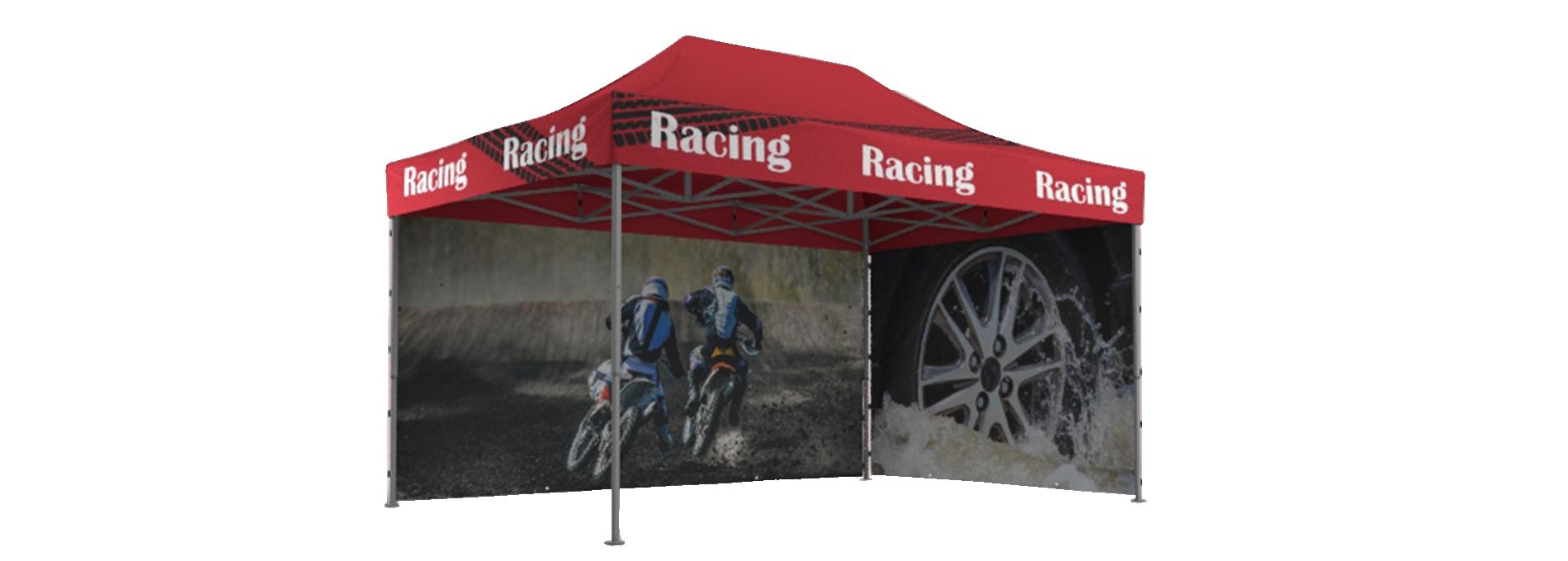 """Roter Faltpavillon mit """"Racing""""-Aufdruck und Seitenwänden für Motocross und Rennsport."""