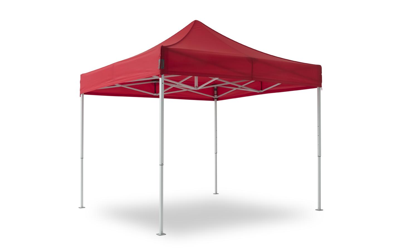 Faltpavillon der Linie max mit rotem Zeltdach und Alu-Gestell.