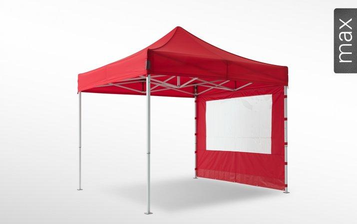 Eine rote Seitenwand mit Panoramafenster ist an einem 3x3 m großen Faltpavillon der Linie max angebracht (mit Klettverschlusslaschen). Das Label am rechten Rand zeigt, dass der Faltpavillon in der Linie max erhältlich ist.